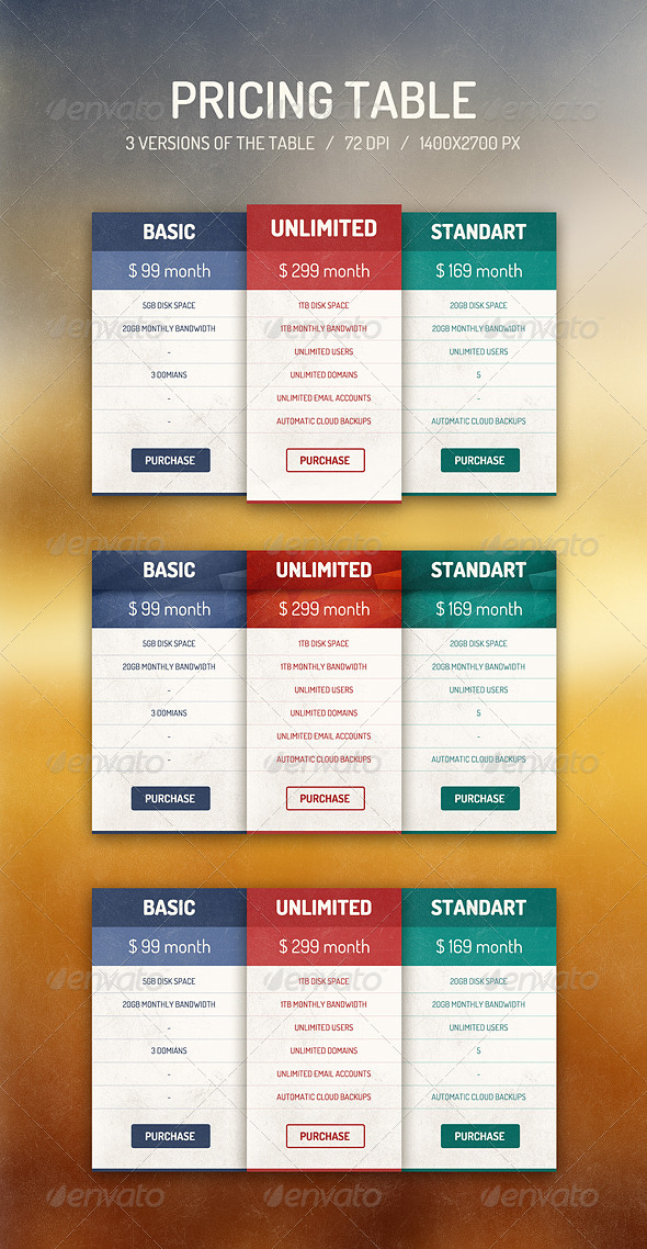 GraphicRiver Pricing Table 6837256