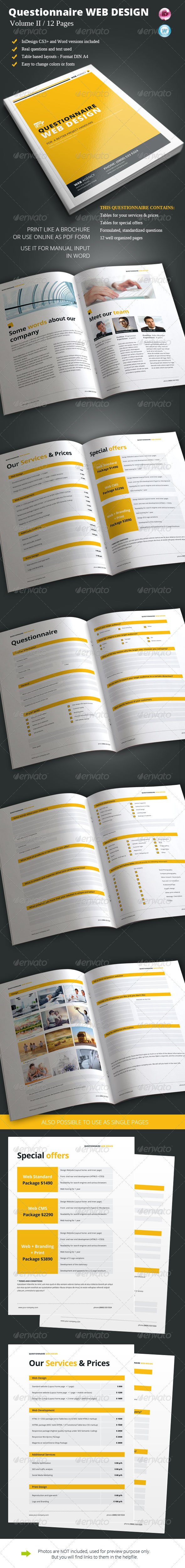 Questionnaire Web Design Vol. II - Informational Brochures