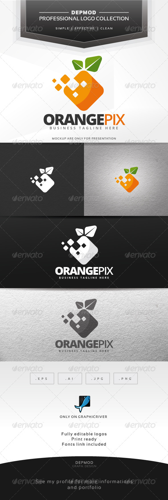 Orange Pix Logo - Food Logo Templates