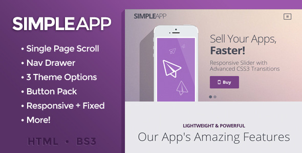SimpleApp - Single Page Scrolling Site
