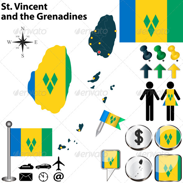 GraphicRiver Map of St Vincent and the Grenadines 6837996