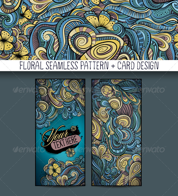 GraphicRiver Decorative Floral Pattern and Card Design 6838075