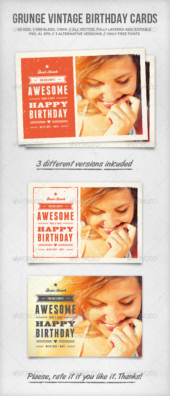 GraphicRiver Grunge Vintage Birthday Cards 6838094