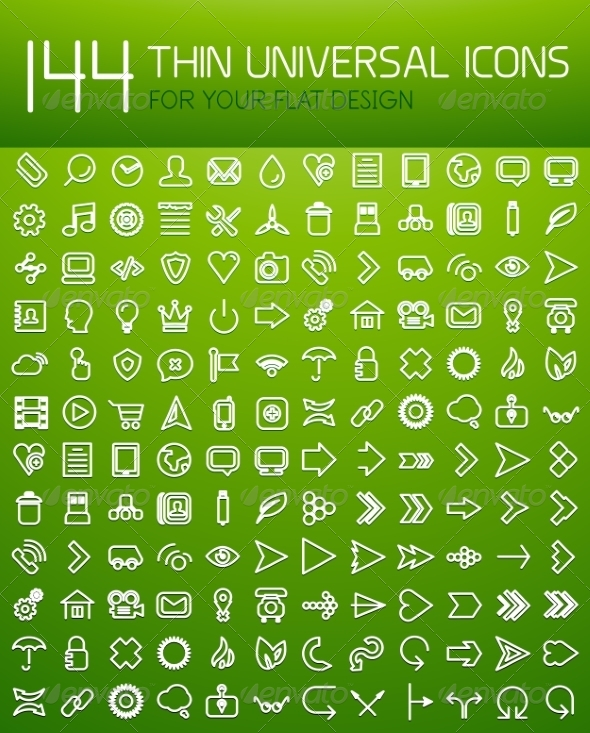 GraphicRiver Large Set of Thin Universal Web Icons 6838285