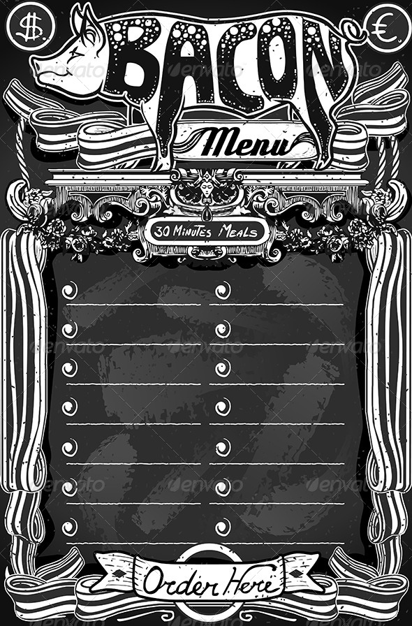 GraphicRiver Vintage Bacon Menu on Blackboard for Restaurant 6838449