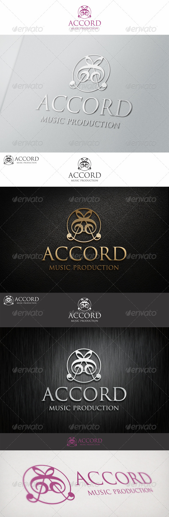 A Letter Accord Music Production - Symbols Logo Templates