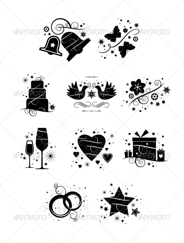 GraphicRiver Ornate Wedding Icons Pack of 10 6839575