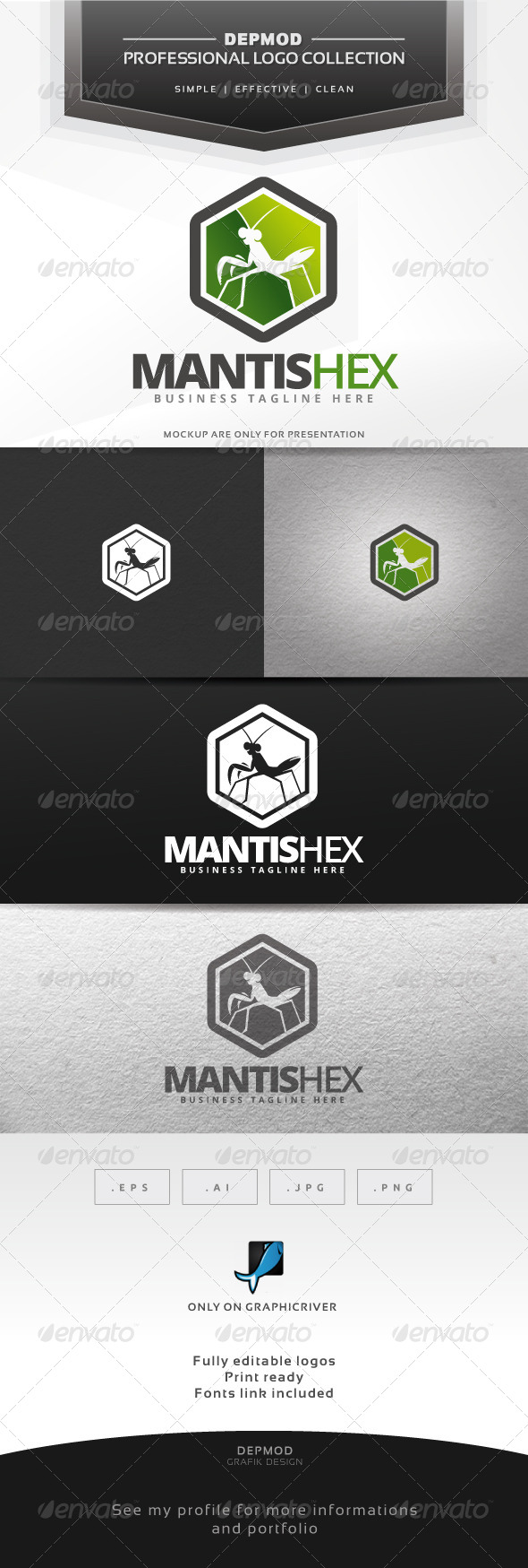 GraphicRiver Mantis Hex Logo 6839629