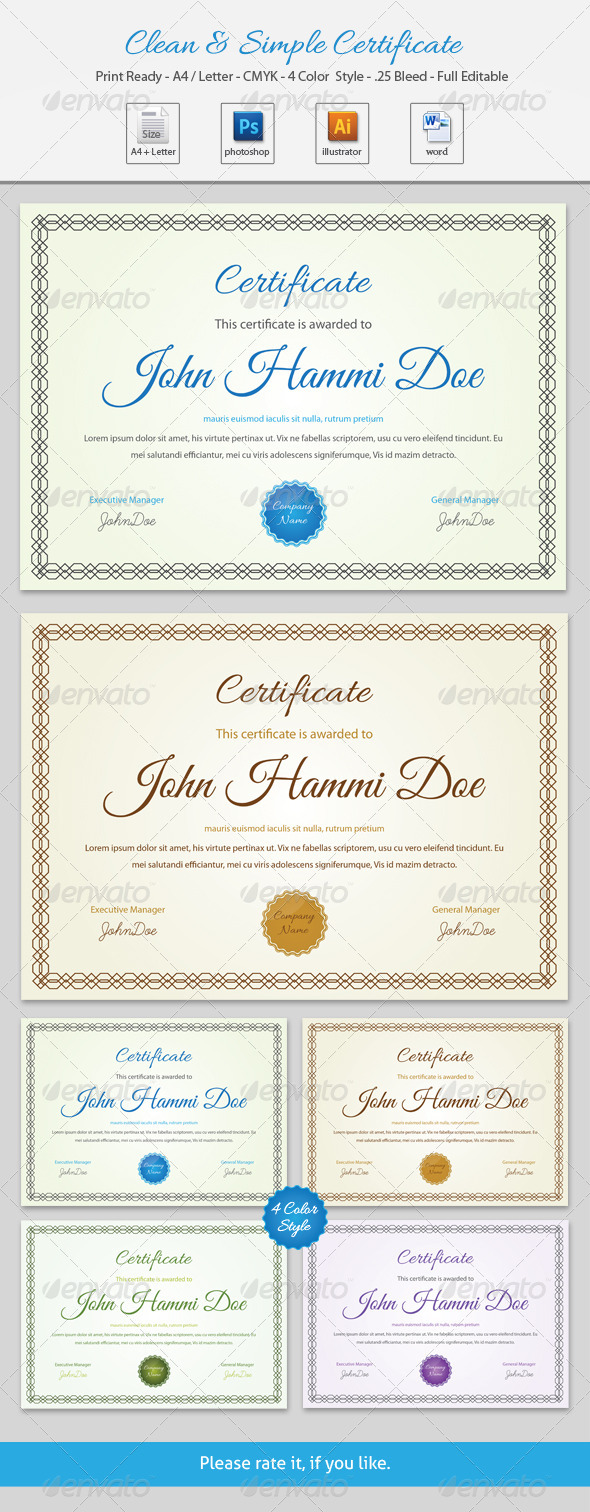 GraphicRiver Clean & Simple Certificate 6839737