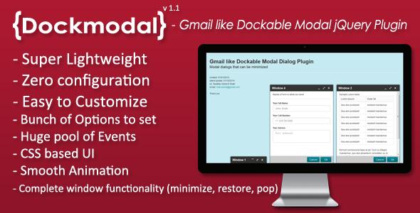 Dockmodal -Gmail like Dockable Modal Dialog Plugin