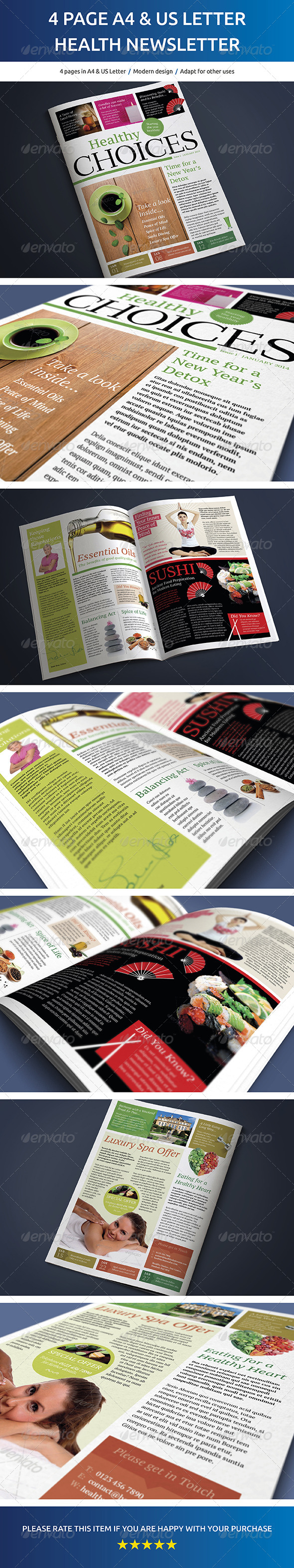 GraphicRiver 4 Page A4 and US Letter Healthy Living Newsletter 6839771
