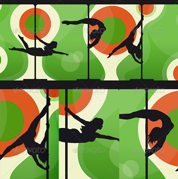 GraphicRiver Silhouettes of Pole Dancers on Abstract Background 6840023