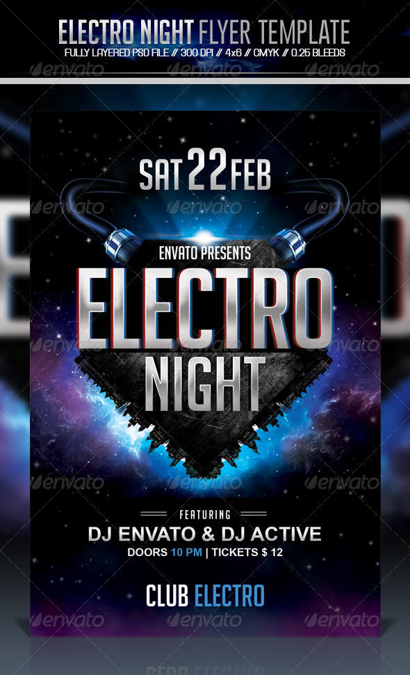 GraphicRiver Electro Night Flyer 6840077