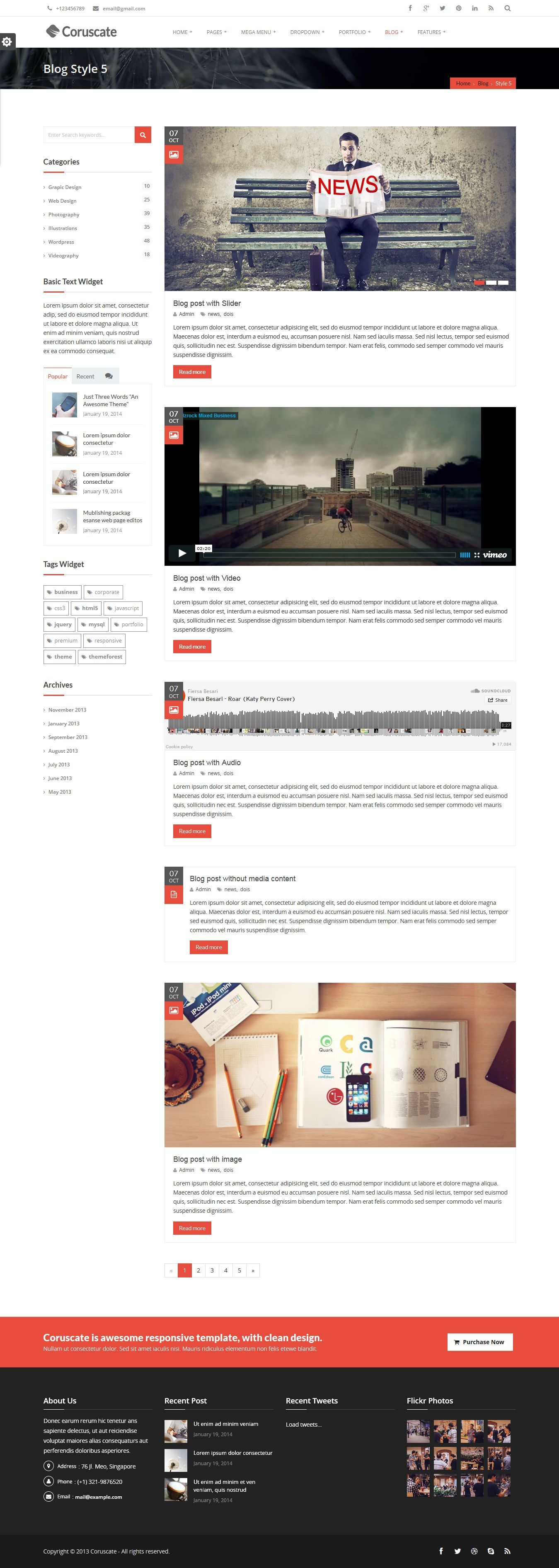 Coruscate - Multi-Purpose Responsive HTML Template