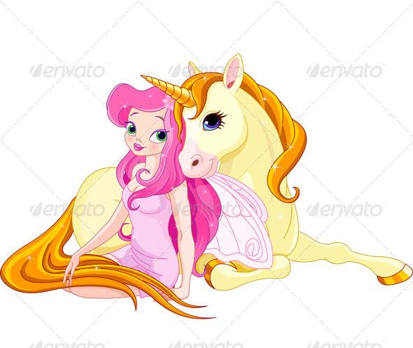 GraphicRiver Fairy and Unicorn 6840774