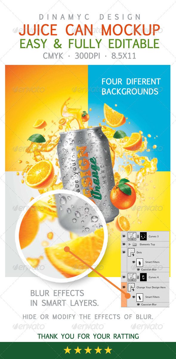 GraphicRiver Design for Orange Juice with Mockup Tin Can 6646007
