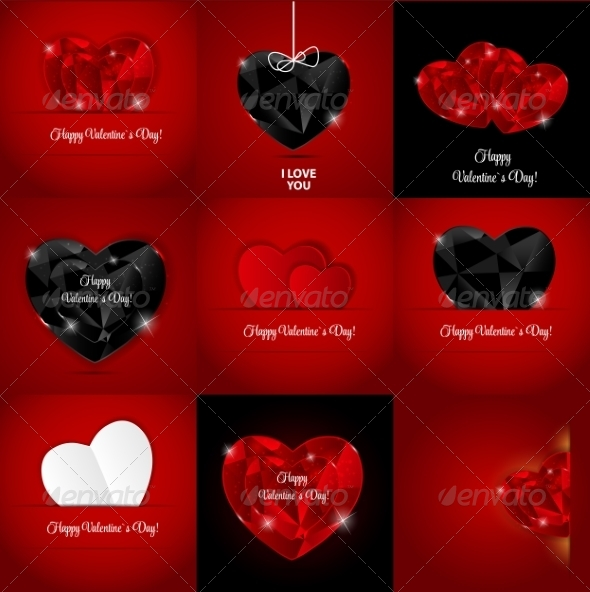 Set of Happy Valentines Day Cards with Heart