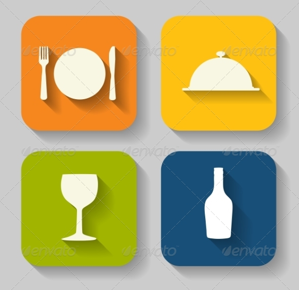 Modern Flat Food Icon Set for Web or Mobile Application