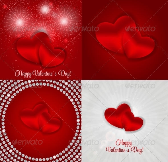 GraphicRiver Happy Valentines Day Card with Hearts 6841333