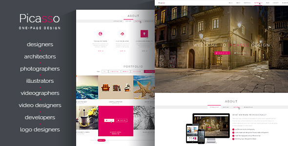 ThemeForest Picasso ONE-PAGE Responsive Retina Portfolio PSD 6805162