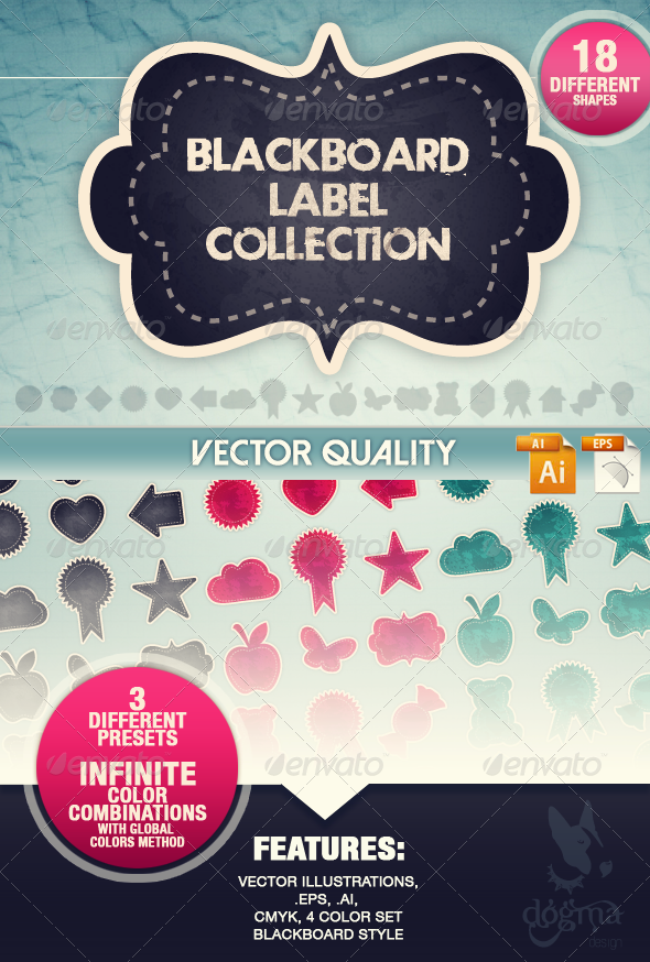 GraphicRiver Blackboard Vector Labels Collection 6841755