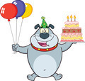 Birthday Gray Bulldog Cartoon Character Holding Up A Birthday Cake With Candles - PhotoDune Item for Sale