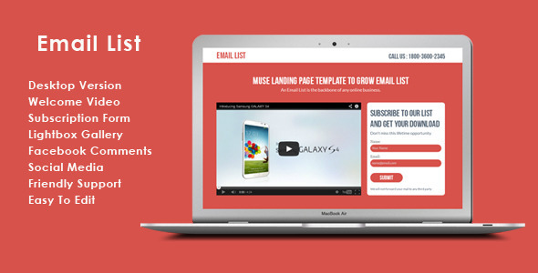 ThemeForest Email List Muse List Building Landing Page 6808510