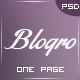 Blogro - Одна страница О веб-дизайн - Личные Шаблоны PSD