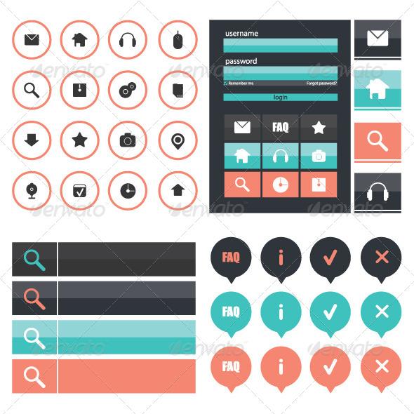 GraphicRiver Flat Web Design Elements 6842076