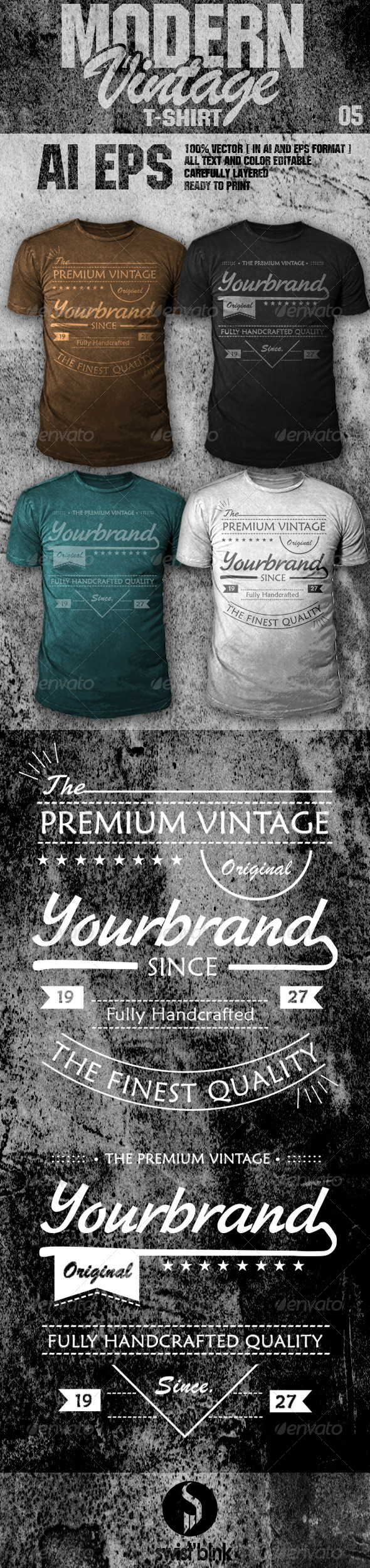 GraphicRiver Modern Vintage T-Shirt 05 6842095