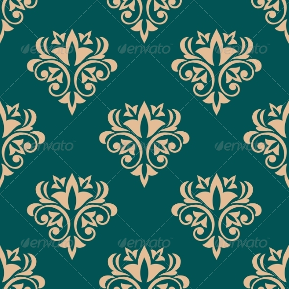 GraphicRiver Green Retro Floral Wallpaper Design 6842144
