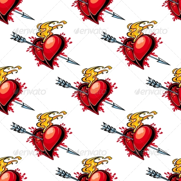 GraphicRiver Flaming Red Heart Pierced by an Arrow 6843038