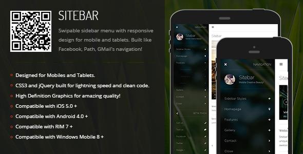 CodeCanyon Sitebar Sidebar Menu for Mobiles & Tablets 6843169