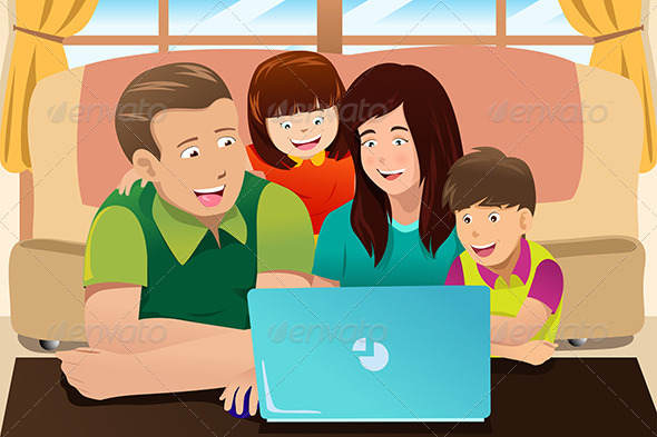 GraphicRiver Happy Family Looking at a Laptop 6843412