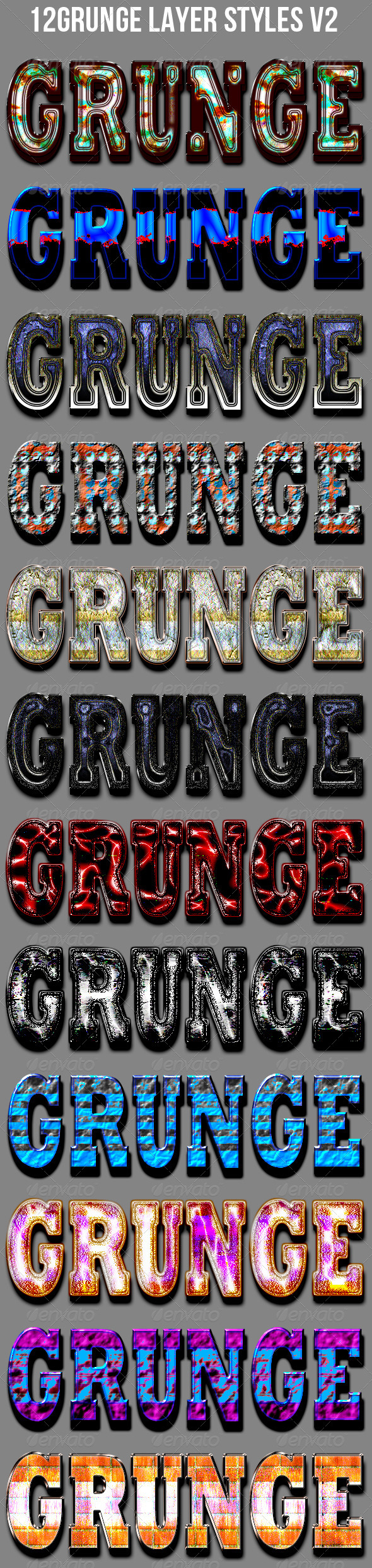 GraphicRiver 12 Grunge Layer Styles V2 6844360