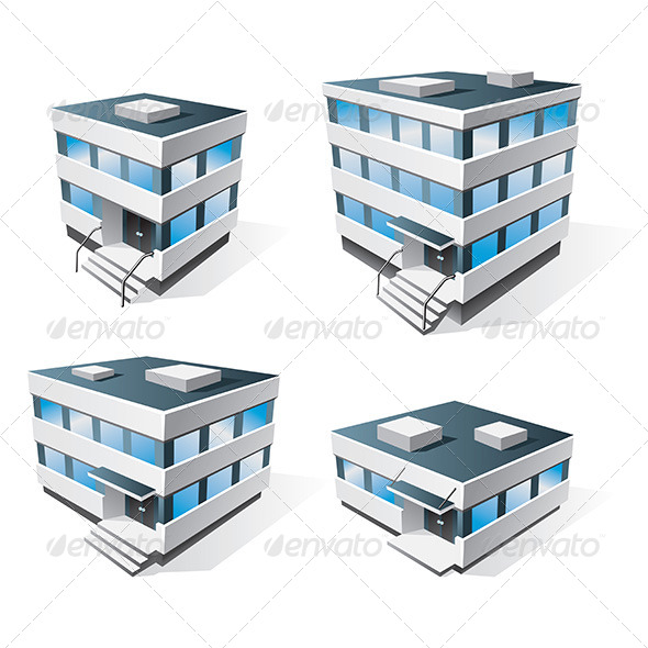 GraphicRiver Four Office Buildings Cartoon Icons 6844365