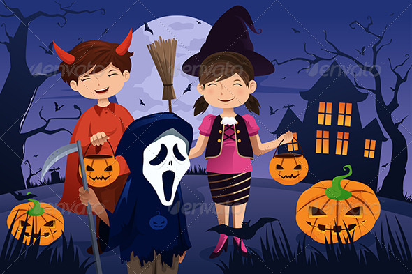 GraphicRiver Kids Dressed Up in Costumes Trick or Treating 6844403