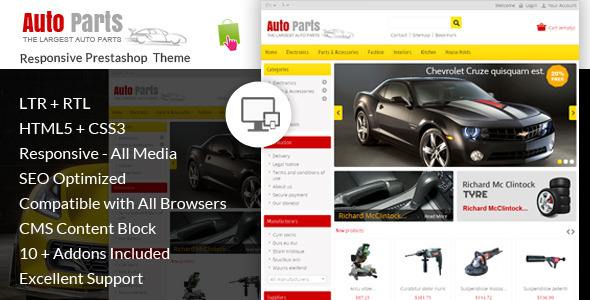 ThemeForest Auto Parts Tools Prestashop Theme 6844583