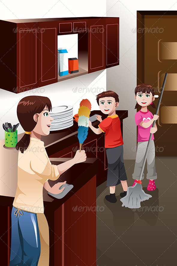 GraphicRiver Kids Helping their Parent Cleaning House 6844603