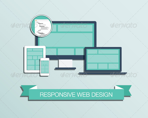 GraphicRiver Responsive Web Design Flat Style Icons 6826189