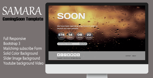 Samara - Responsive Coming Soon Template - Under Construction Specialty Pages