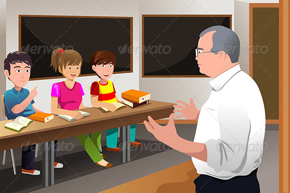 GraphicRiver Teacher Teaching College Students 6845023