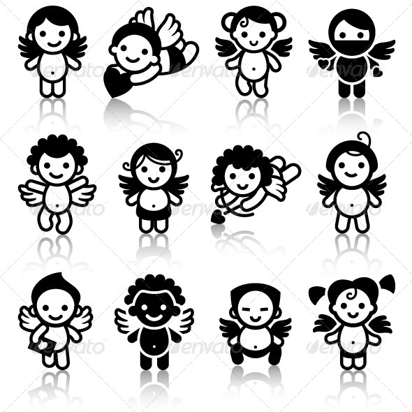 GraphicRiver Cupids Black Icons with Reflection 6845250