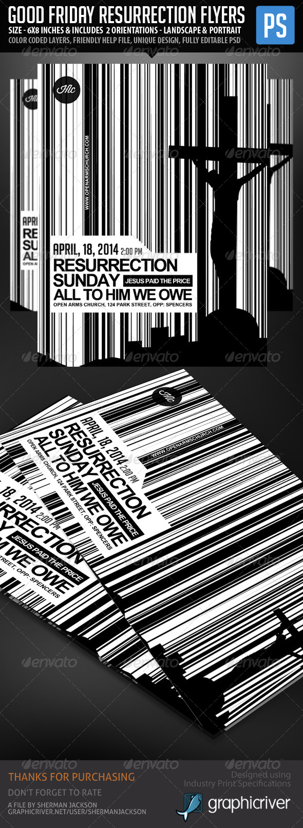 GraphicRiver Good Friday & Resurrection Day Flyers 6845336