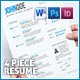 4-Piece Resume - GraphicRiver Item for Sale