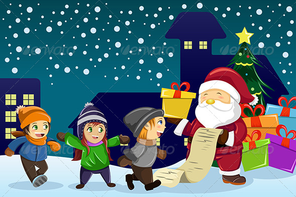 GraphicRiver Santa Claus Carrying Present and Holding List 6845413