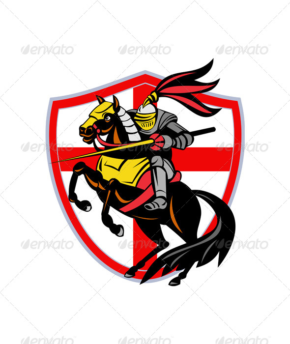 English Knight Lance Retro Flag Shield