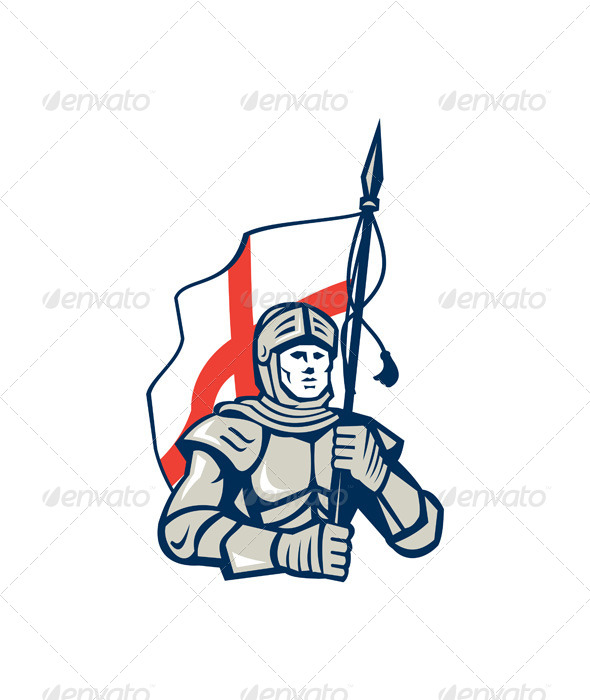 English Knight England Flag Retro