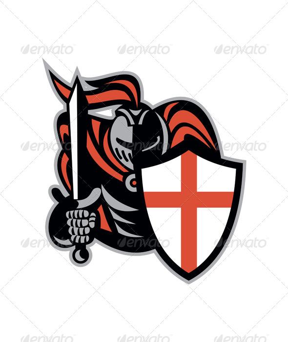 GraphicRiver English Knight with Sword Retro Shield 6845618