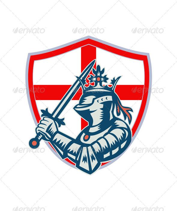 GraphicRiver English Knight Full Armor With Sword Retro 6845650
